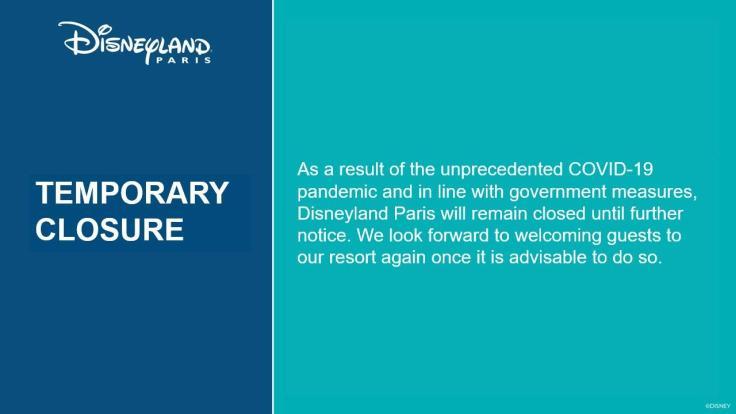 Disneyland Paris Coronavirus Closure